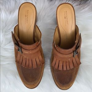 Rockport Dynamic Suspension camel colored Mules 11